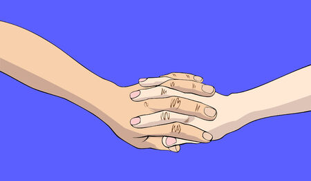 joined hands: Two joined hands isolated on blue background