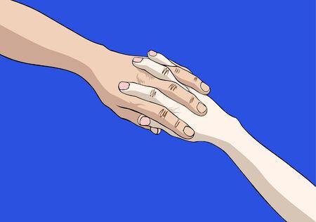 manos unidas: Dos manos se uni� a aisladas sobre fondo azul  Vectores
