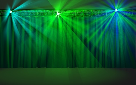 showbusiness: Empty stage with green curtain lighted with multicolored projector lights Stock Photo