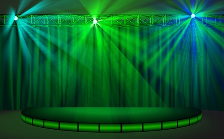 Empty stage with green curtain lighted with multicolored projector lights Stock Photo - 9052361
