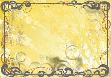 Vintage grunge background with a floral frame