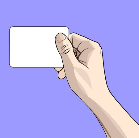 hand cartoon: illustration of a hand with business card on blue Illustration
