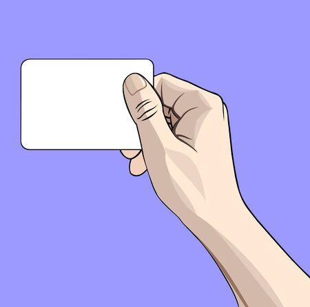 mani cartoon: illustrazione di una mano con biglietto da visita sul blu Vettoriali