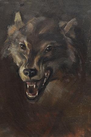Peinture image de la tête de loup apparaît dans l'obscurité. Huile sur toile. Banque d'images