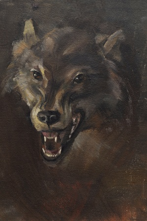 Schilderij beeld van de kop van een wolf verschijnen van de duisternis. Olieverf op doek.
