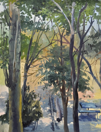 fine art painting: Summer view with a poplar tree, sun shining and shadows. Oil on canvas by Veronika Surovtseva.