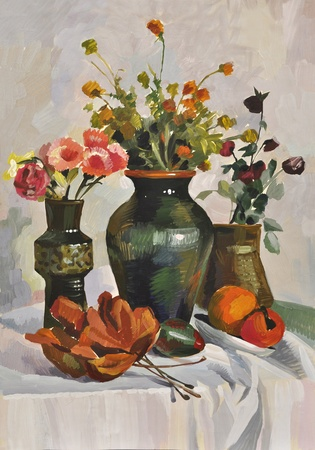 Autumn stillife with vases, flowers and dry leaves. Oil on canvas by Veronika Surovtseva.