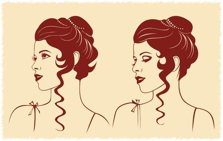 Profilo di donna con acconciatura ondulata
