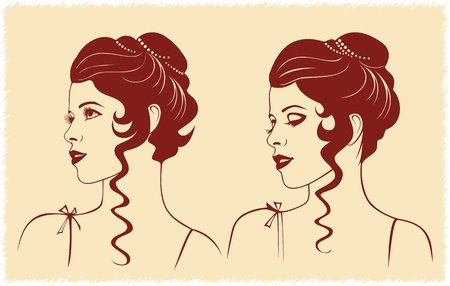 hair do: woman profile with wavy hairstyle