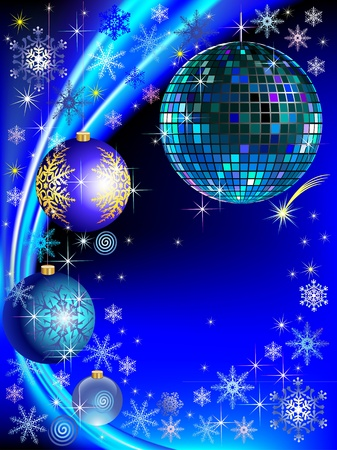 New Year greeting card with disco-ball, decorated balls, snowflakes and stars Illustration