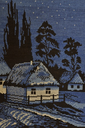 Embroidery night rural scene with a country house and trees Stock Photo - 10706400