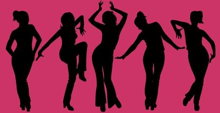 Illustratie van vijf dansende vrouwen silhouetten op paarse achtergrond