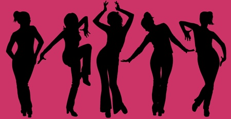 Illustration de cinq femmes qui dansent des silhouettes sur fond violet