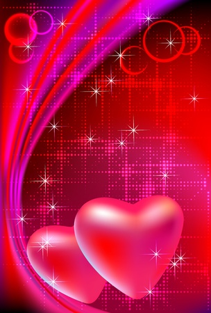 Vector illustration of two valentine's day hearts on abstract bright red background.