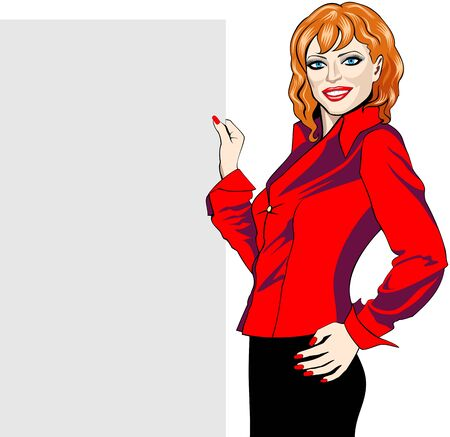 redhead woman: Beautiful smiling woman holding a copy-space board