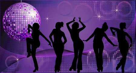 Vector illustration of five dancing women silhouettes on disco background Illustration