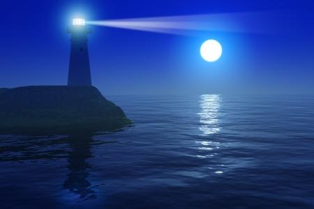 Mystic zeegezicht met volle maan en de vuurtoren