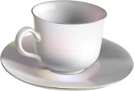 Vector illustration of an empty porcelain cup. Gradient mesh. Vector