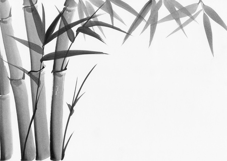 chinese watercolor: Original art, watercolor painting of bamboo, Asian style painting