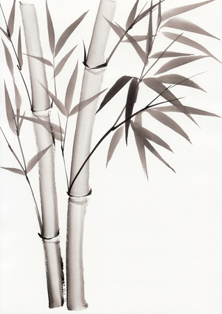 simple life: Original art, watercolor painting of bamboo, Asian style painting