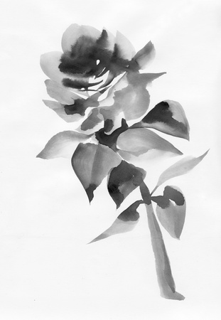 sumi e: Watercolor rose original painting asian style