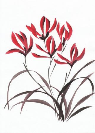 Art originale d'aquarelle - peinture de style asiatique d'orchidées rouges de montagne Banque d'images