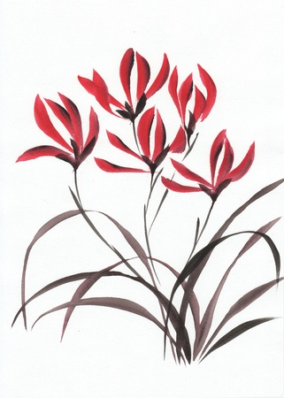 sumi: Watercolor original art – asian style painting of red mountain orchids  Stock Photo
