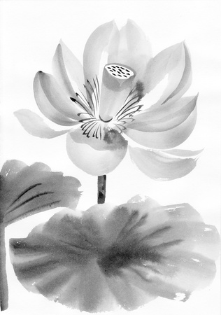 Original art, watercolor painting of lotus, Asian style painting Stock Photo