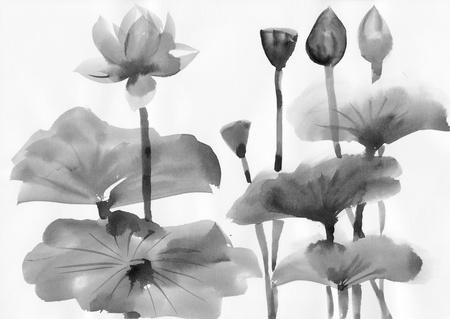 Originele kunst, waterverf het schilderen van lotusbloem, Aziatische stijl schilderen