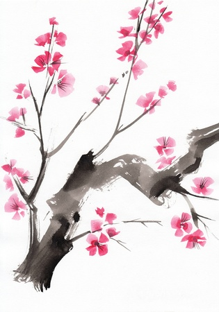 plum flower: Watercolor painting of a tree in blossom Stock Photo