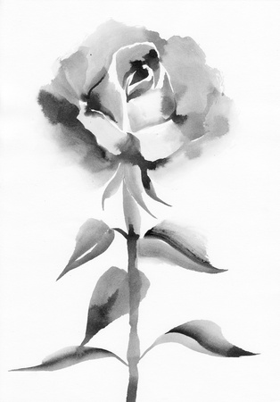 sumi e: Watercolor rose original painting – asian style