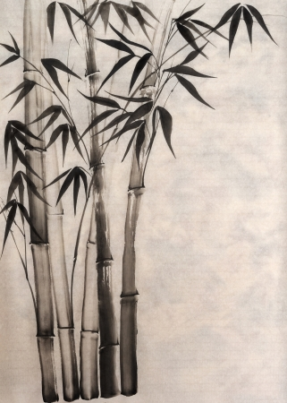 bamboo leaf: Original art, watercolor painting of bamboo, Asian style painting