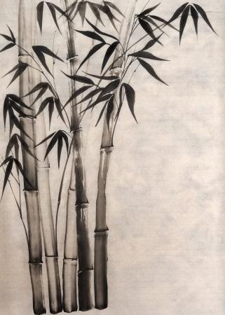 Original art, watercolor painting of bamboo, Asian style painting Stock fotó - 17159539