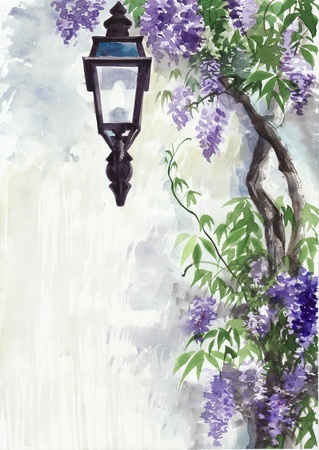Lantern in the lilac garden against the wall photo