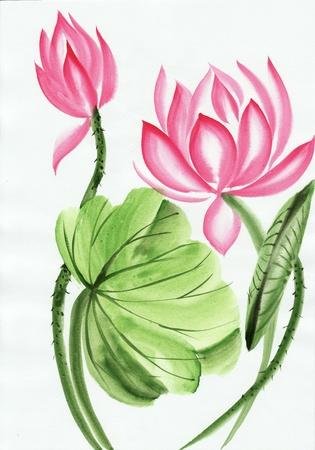 L'art original, peinture à l'aquarelle de fleur de lotus, la peinture de style asiatique Banque d'images