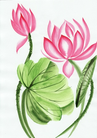 brushstrokes: Original art, watercolor painting of pink lotus, Asian style painting Stock Photo