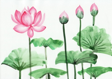 Original art, watercolor painting of pink lotus, Asian style painting Stock Photo