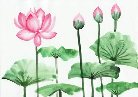 Originele kunst, waterverf het schilderen van roze lotus, Aziatische stijl schilderen Stockfoto
