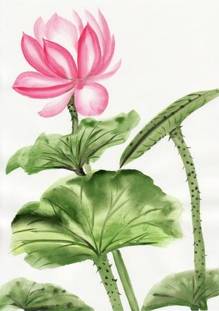 Originele kunst, waterverf schilderen van roze lotus, Aziatische stijl schilderen