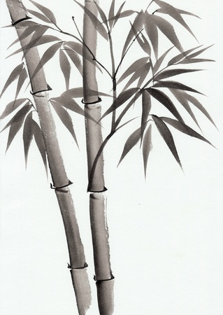 bamboo: Original art, watercolor painting of bamboo, Asian style painting