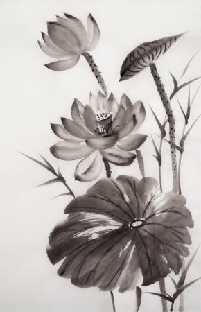 L'art original, peinture à l'aquarelle de lotus, la peinture de style asiatique