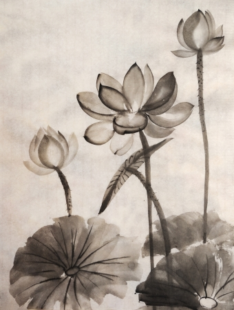 Original art, watercolor painting of lotus, Asian style painting Stock fotó - 17719992