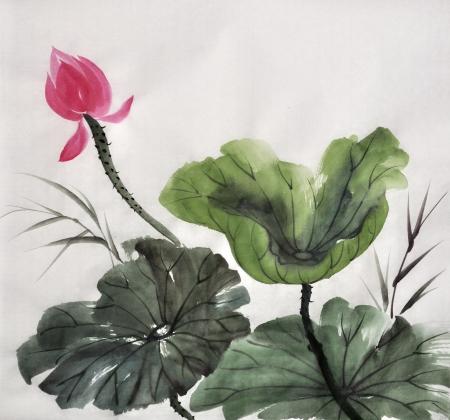 Originele kunst, aquarel schilderen van lotus, Aziatische stijl schilderen Stockfoto