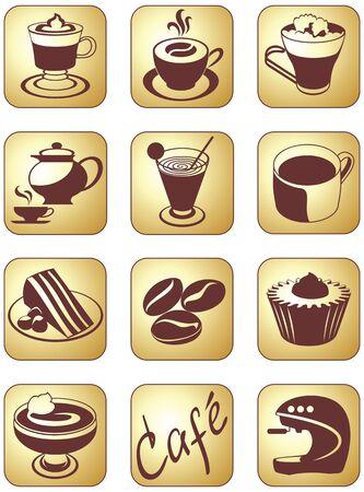 Icon set pour la pause-café et un service de boissons Banque d'images - 19079218
