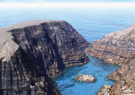 brook: Huge cliffs separated by the flow against the blue sea Stock Photo