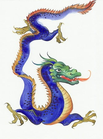 chinese watercolor: Original watercolor painting of a blue dragon