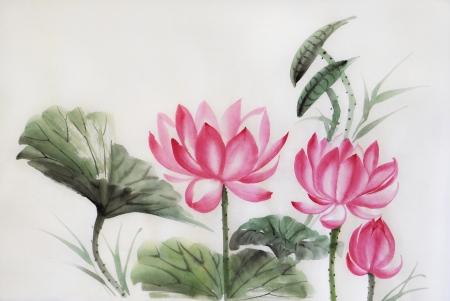 arroz chino: �rbol lotos acuarela, arte original, estilo asi�tico Foto de archivo