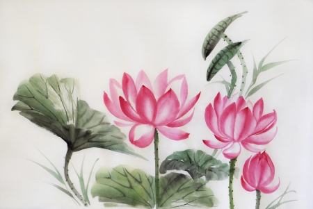 asian art: Tree lotuses watercolor painting, original art, asian style Stock Photo