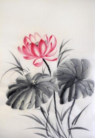 Lotus met twee bladeren aquarel, originele kunst, Aziatische stijl Stockfoto