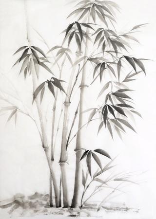 Origineel aquarel schilderij van bamboe. Aziatische stijl.